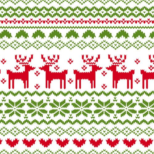 Back in Stock!! FairIsle Reindeer Pattern on White Cotton Jersey ...