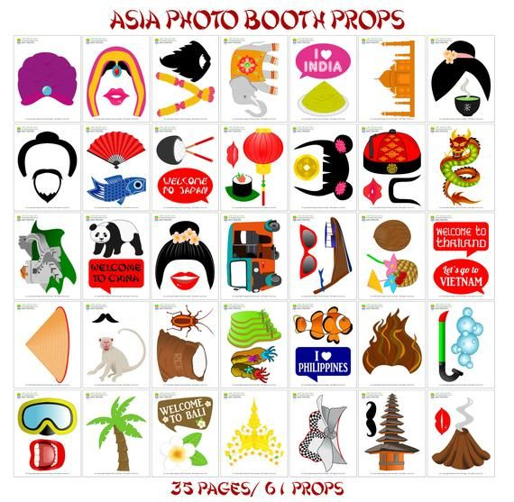 Printable Asia Photo Booth Propssoutheast Asia Travel Photo Props