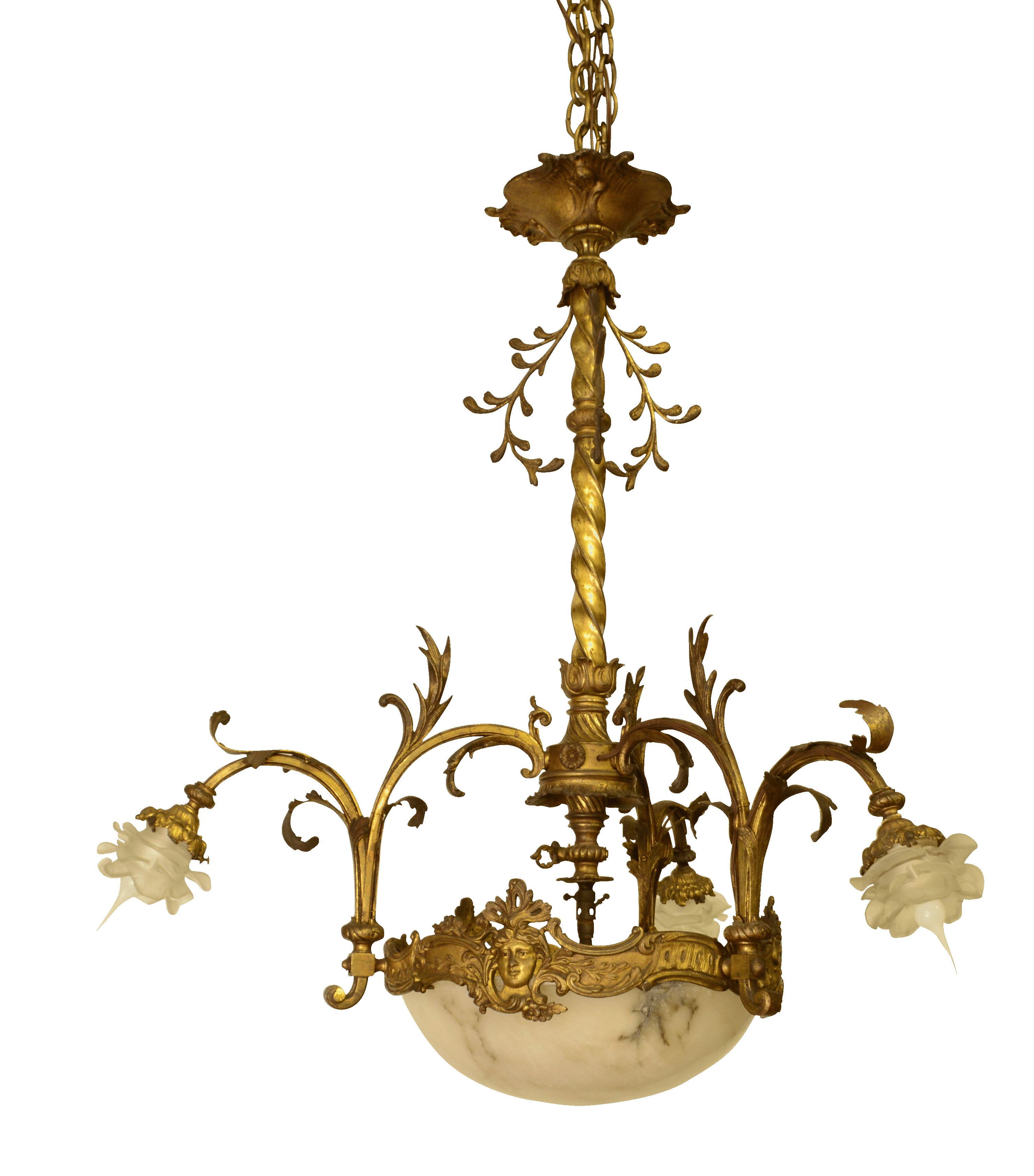 New Awesome Alabaster Chandelier French In Stock Antique 19th Century Glass