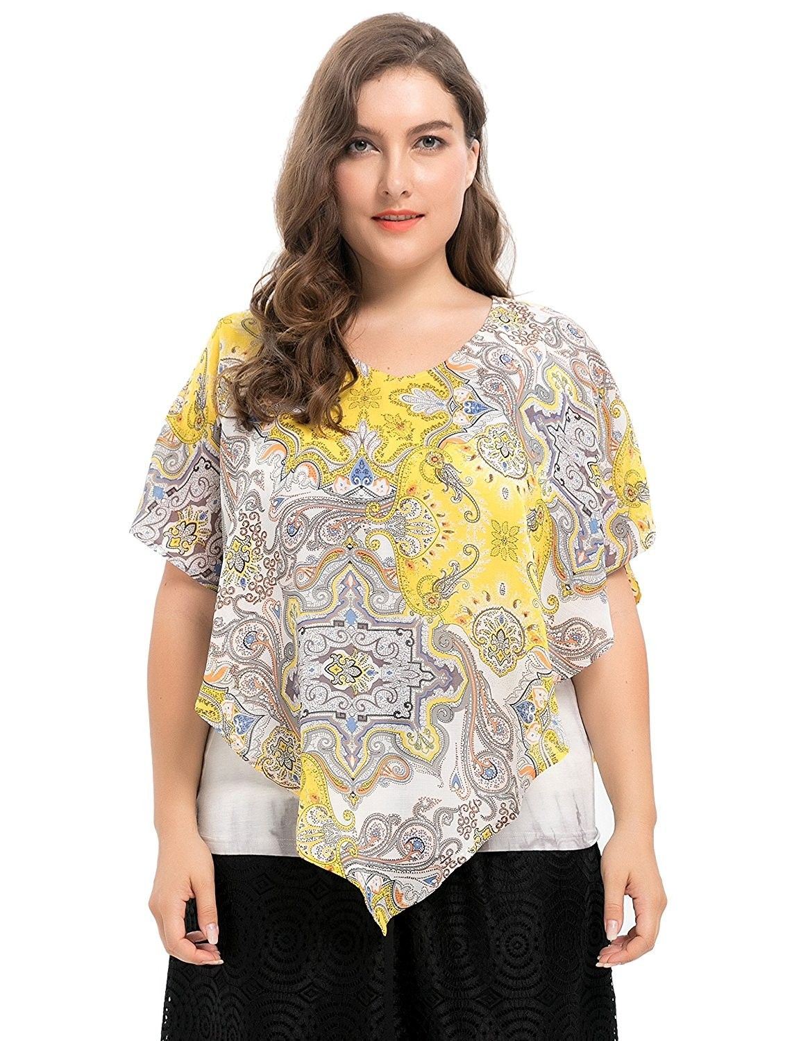5b8690849063e Women s Lined Plus Size Tie Dyed Printed Layered Top Blouse 1X - 4X ...