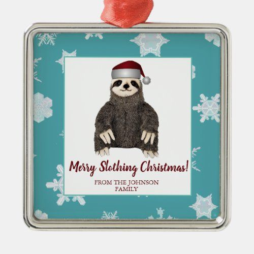 Cute Funny Merry Christmas Sloth Santa Hat Metal Ornament   designer christmas decorations, christmas decorations for children, mcm christmas decor #christmasgift #christmasmood #ChristmasDay