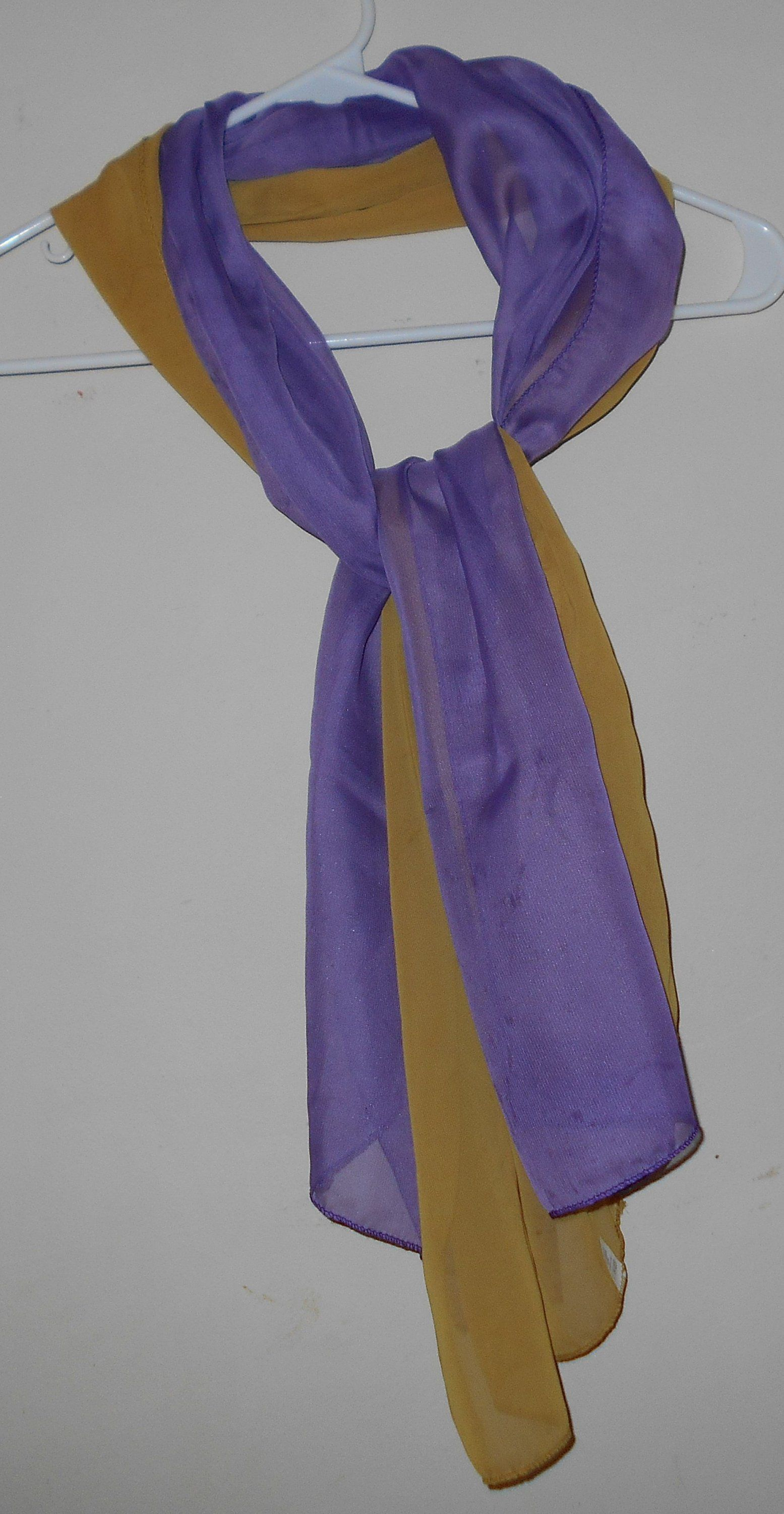 f41e27a6bbfeb Vintage nylon scarves in purple and mustard 1980s fashion scarf in ...