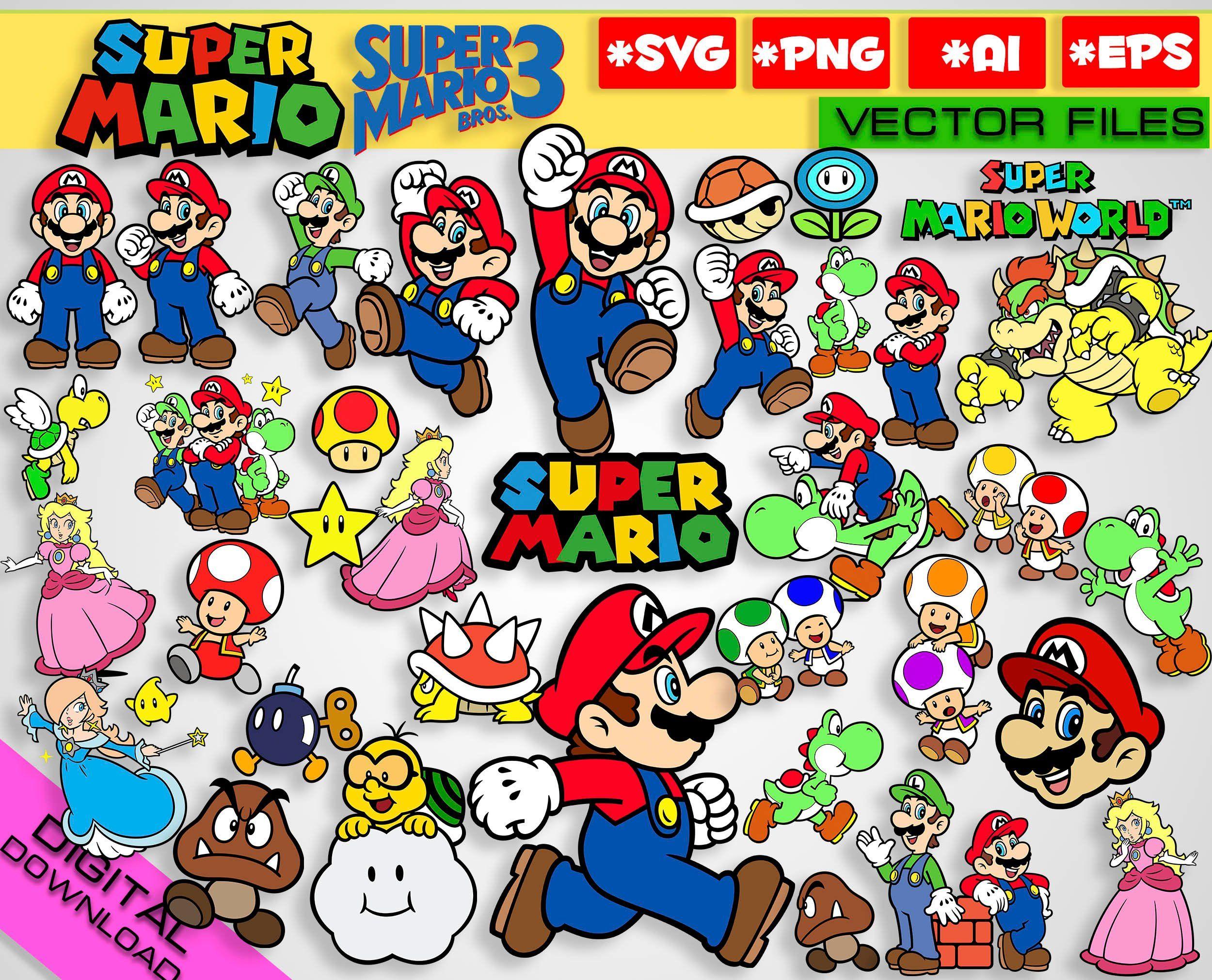 Mario svg png clipart mario svg graphics printable