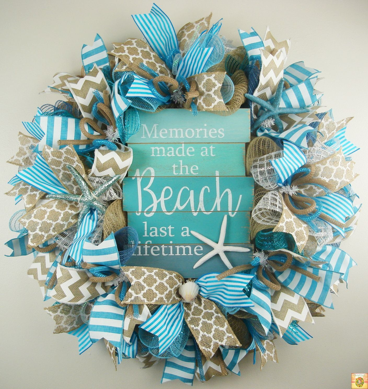 Wreath Nautical Wreath Deco Mesh Wreath Beach Wreath Door Decor Beach House Wreath Beach Deco Mesh Summer Wreath Front Door Wreath