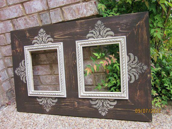 double 8x10 distressed picture frame asphaltum linen - Double 8x10 Frame