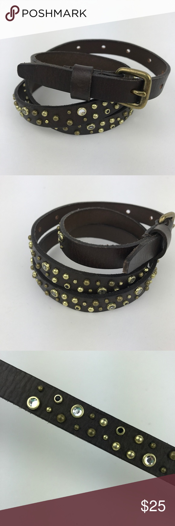 """[J Crew] Studded Crystal Leather Belt Brown Skinny Skinny genuine leather belt. Crystal and stud detailing. Size Small.  🔹Total Length: 35"""" 🔹Shortest Hole: 26"""" 🔹Longest Hole: 32"""" 🔹Width: 0.5"""" 🔹Condition: Excellent pre-owned condition. J. Crew Accessories Belts"""