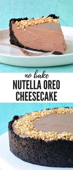 A deliciously rich and creamy Nutella Oreo Cheesecake. This gorgeous no bake cheesecake - made without gelatine - boasts a crunchy Oreo crust and a creamy Nutella cheesecake filling all topped with roasted hazelnuts. Recipe from