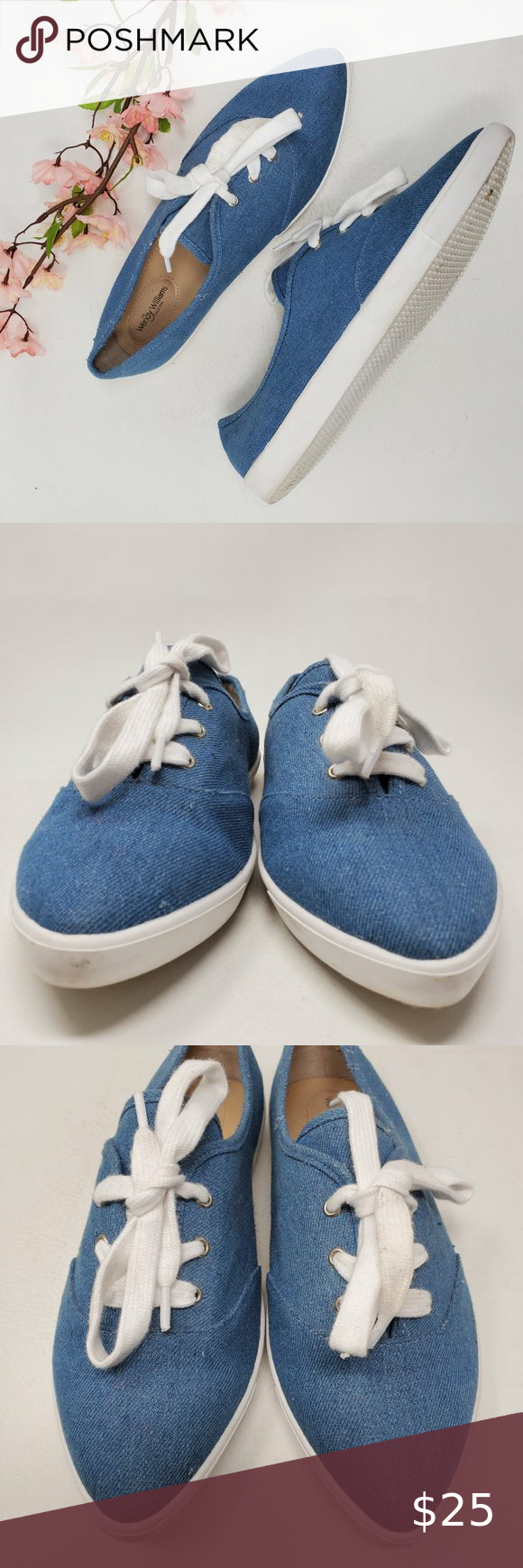 Wendy Williams Pointed Toe Sneakers Blue Canvas 9 Thank you for stopping in! These are in excellent preowned condition and were only worn a few times.  Please see all pictures as they are the best descriptors.  • Brand: The Wendy William Collection  • Style: Fashion Sneakers  • Color: Blue   • Material: Fabric    • Size: 9 Medium • Sole: 3 3/8
