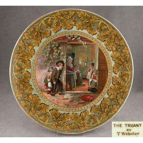 Prattware antique porcelain dinner plate. By T. Webster