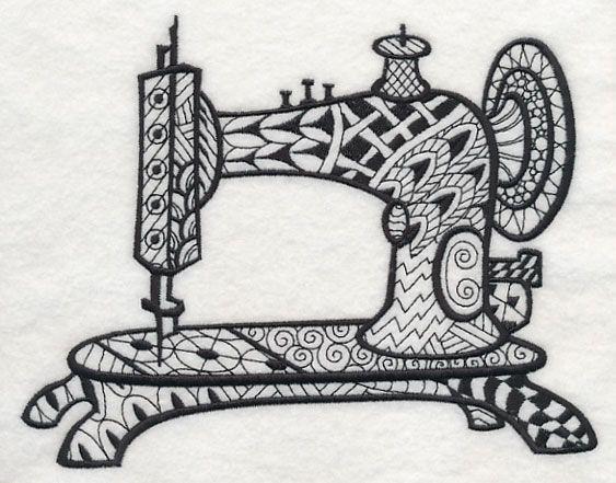 Vintage Sewing Machine 2 Blackwork Design J8488 From Www