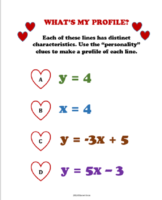 valentine s day algebra activity linear equations algebra  these lines are writing their dating profiles help them out by matching the personality clues