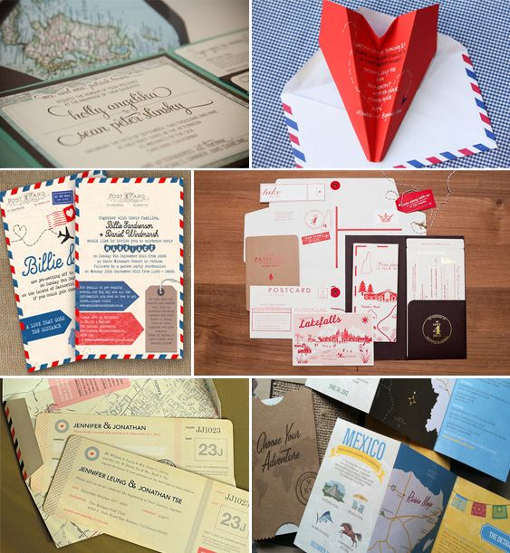 travel themed wedding ideas invitaitons A plane ticket save the