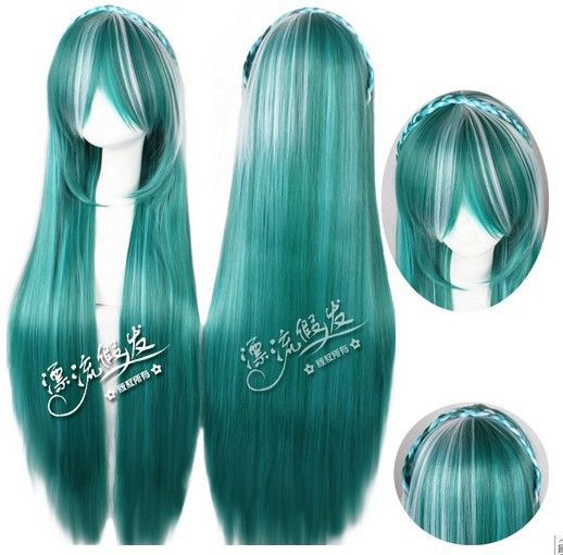 New high quality  Wig Wholesale Cosplay wig anime COS Hatsune Miku MSN edition game characters  women  female lady free shipping $29.50