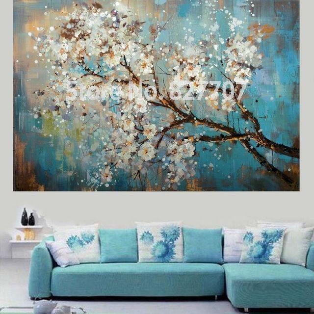 Pintado m o abstrata moderna flor da arte da lona for Sala de estar pintura