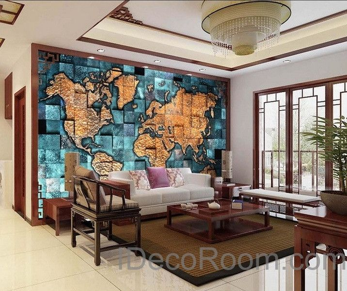 D Blue Ocean Abstract World Map Wallpaper Wall Decals Wall Art - 3d world map wall art