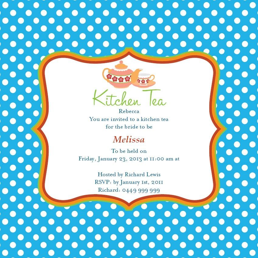 Gentil A Great Contrasting Invitation Card For A Delightful Kitchen Tea Party  Thrown In Honour Of The Bride, This Wonderful Betty Boo Invite Card Comes  In Sea Blue ...