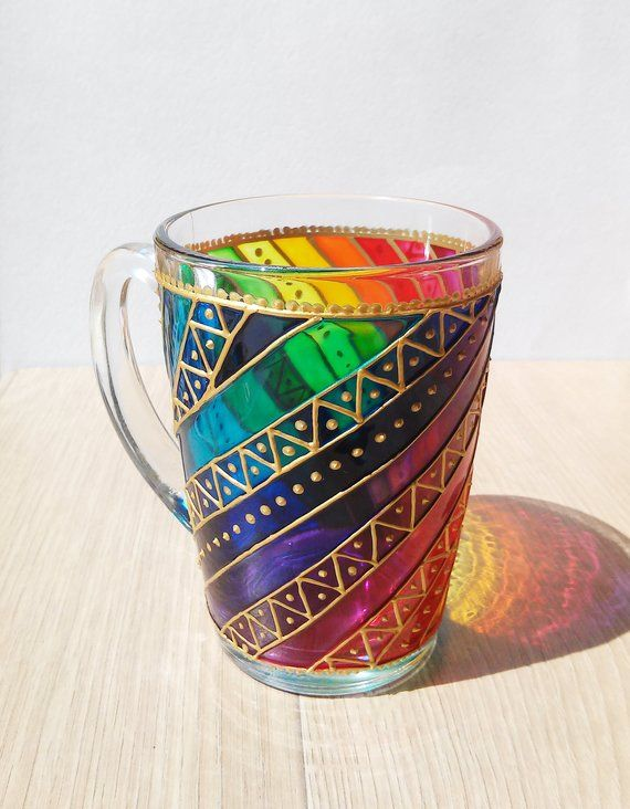 c89256d51d8 Coffee Mug Rainbow Stripes Sun catcher mug Hand painted Multi Coloured  glass Mugs