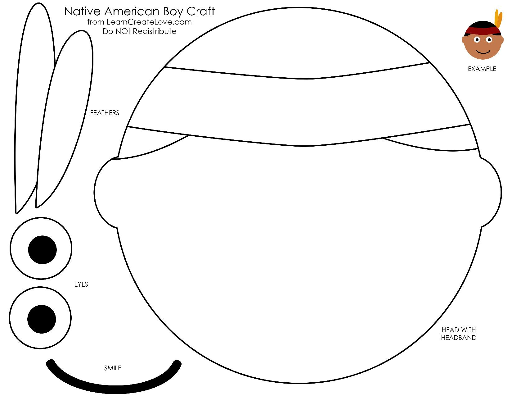Printable native American face craft for Thanksgiving | Indianer ...