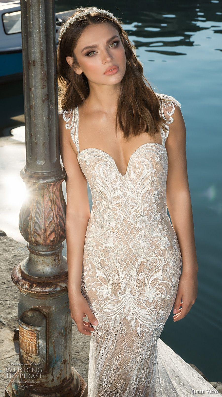 Julie vino fall bridal cap sleeves sweetheart neckline full