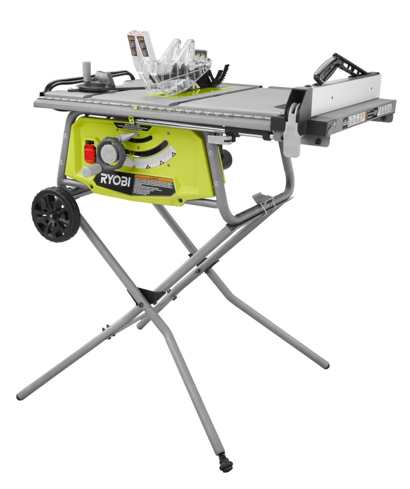 The Ryobi 10 Inch Portable Table Saw With Rolling Stand Is Perfect For The Cost Conscious Pro And Comes Fully Diy Table Saw Portable Table Saw Ryobi Table Saw