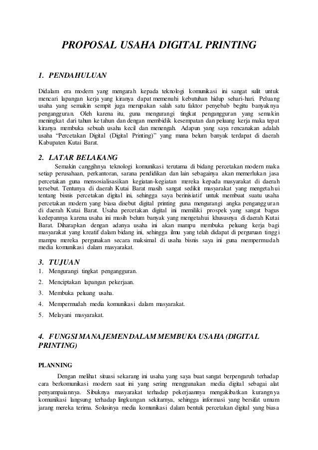 Contoh Proposal Usaha Digital Printing Proposal Digital Prints Prints