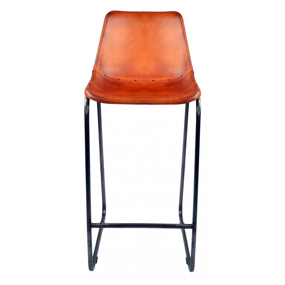 Fusion Living Burnt Orange Faux Leather Industrial Bar Stool