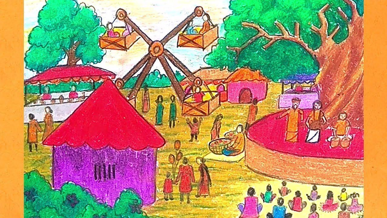 How To Draw Boishakhi Mela Scenery Drawing Village Fair Drawing