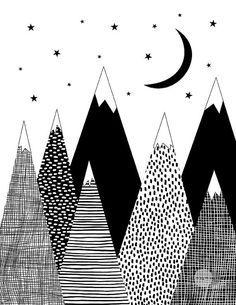 Impression de montagne, décor de chambre pour enfants, art noir et blanc, imprimé scandinave, art téléchargeable