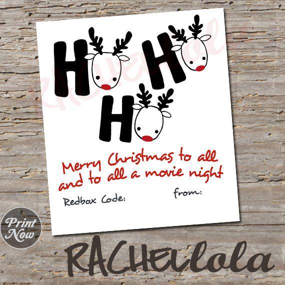 Redbox Code Gift Tag, ho ho ho, digital, instant download | gift ...