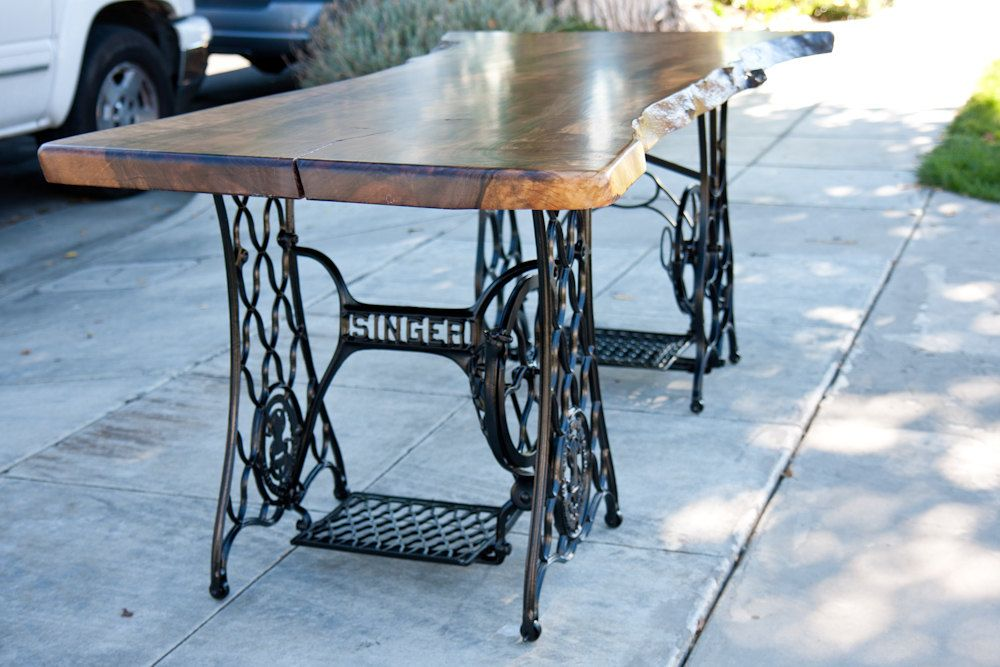 Walnut Slab Table With Antique Sewing Machine Legs 4 900 00 Via Etsy Sewing Table Singer Sewing Tables Sewing Table Repurpose
