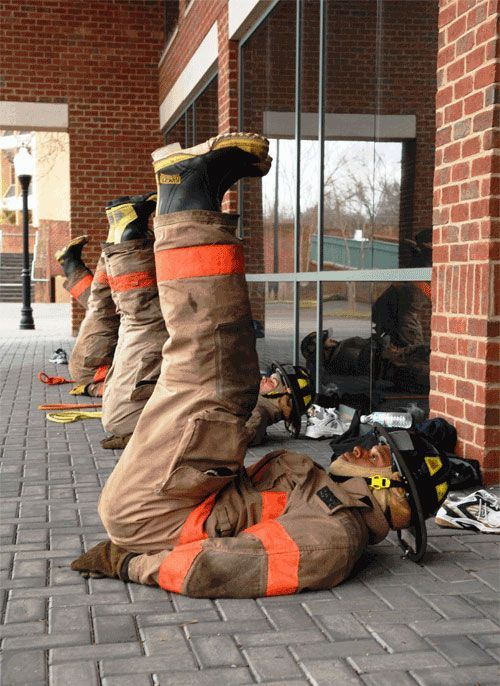 Inverted Crunch, Full Gear Maybe I should start working out in my fire gear..... Check out that cool T-Shirt here: https://www.sunfrog.com/I-love-my-firefighter-Black-Ladies.html?53507