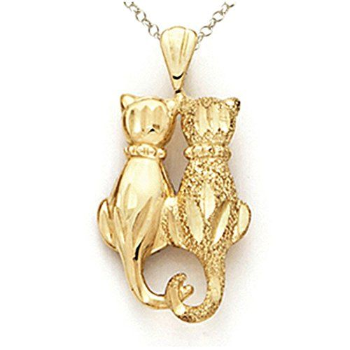 14K Gold Cat Pendant All Things Cat Jewelry Pinterest