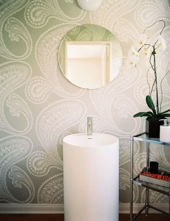 adding patterened wallpaper is a great way to add interest to your