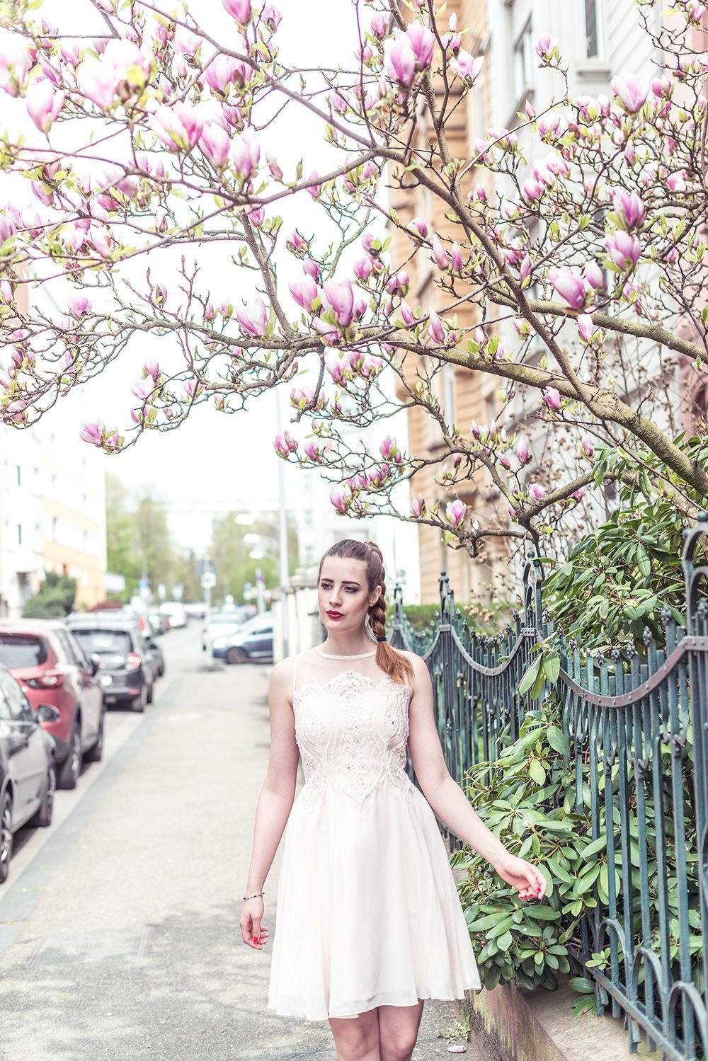OUTFIT: MAGNOLIA - NUDE CHIFFON DRESS  andysparkles