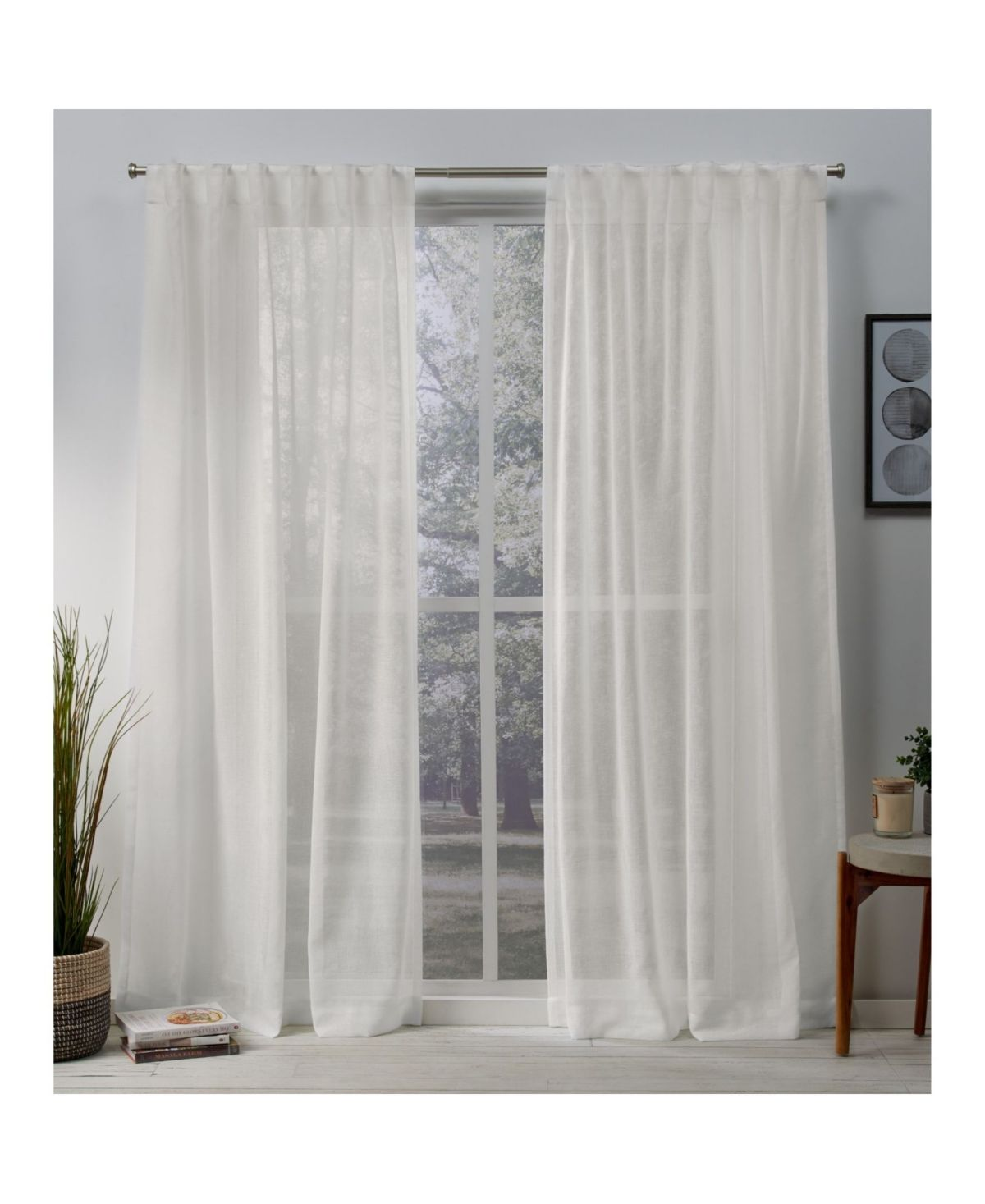Exclusive Home Belgian Sheer Hidden Tab Top Curtain Panel Pair 50