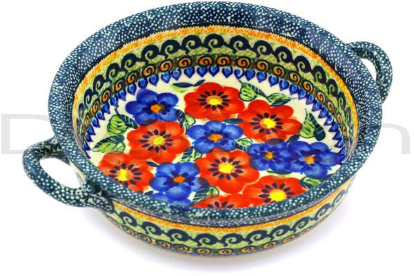 Polish Pottery 7-inch Round Baker with Handles | Boleslawiec Stoneware | Polmedia H1368G