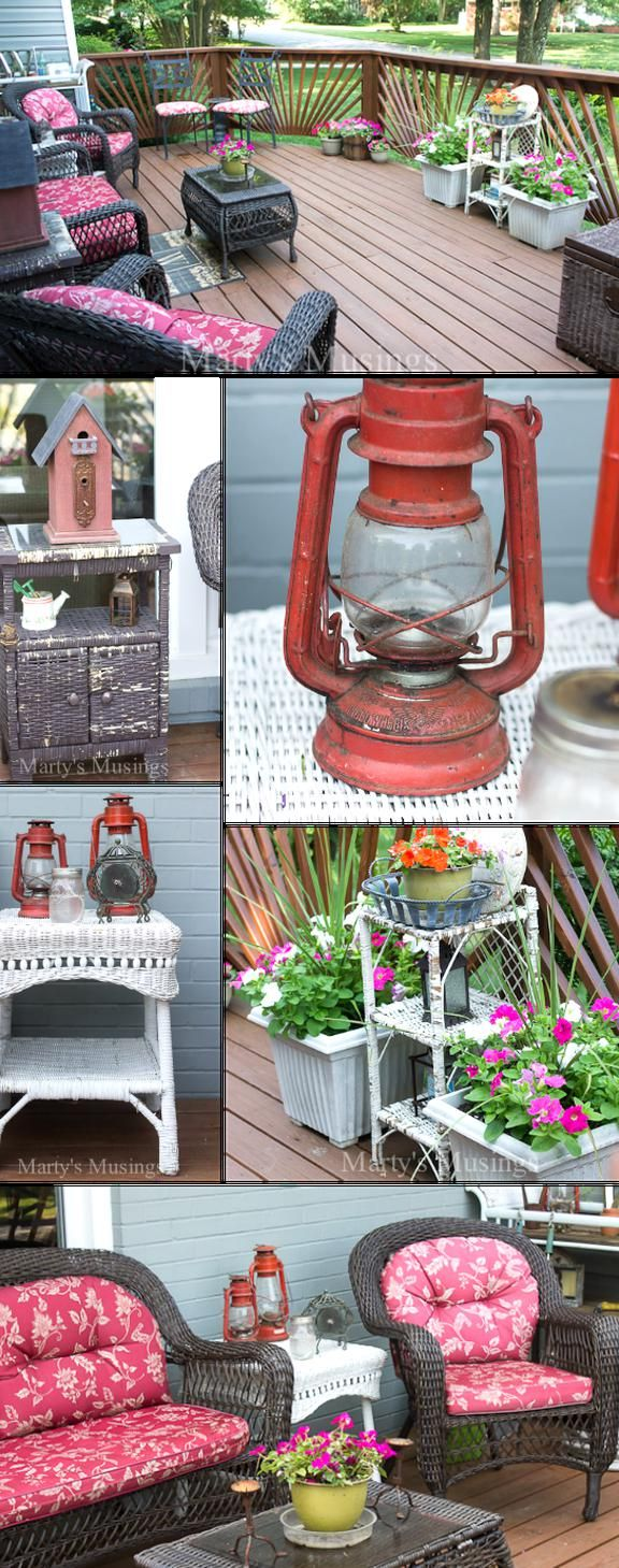 These Budget Decorating Ideas For Decks And Other Outdoor Spaces Will Inspire You To Shop Yard Sales Thrift In 2020 Deck Decorating Decorating On A Budget Patio Decor