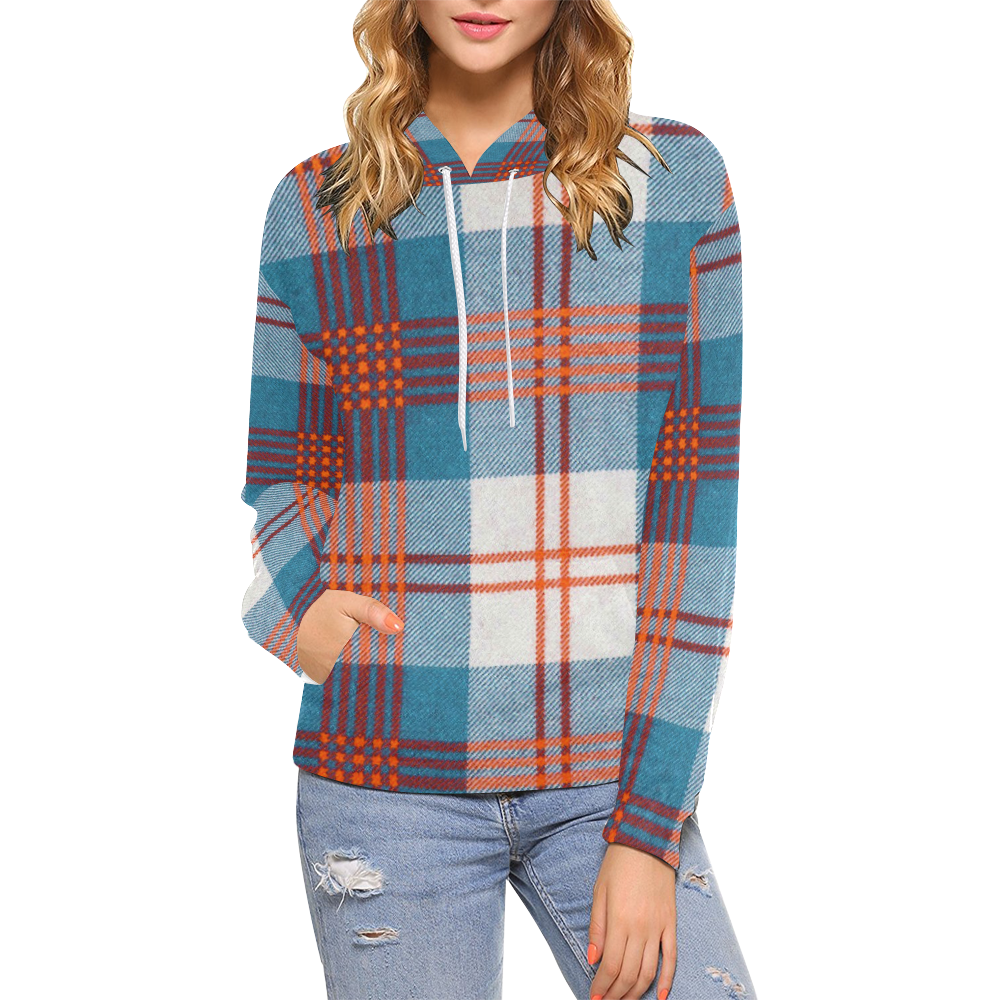 Flannel hoodie jacket women's  tartan  All Over Print Hoodie for Women USA Size Model H