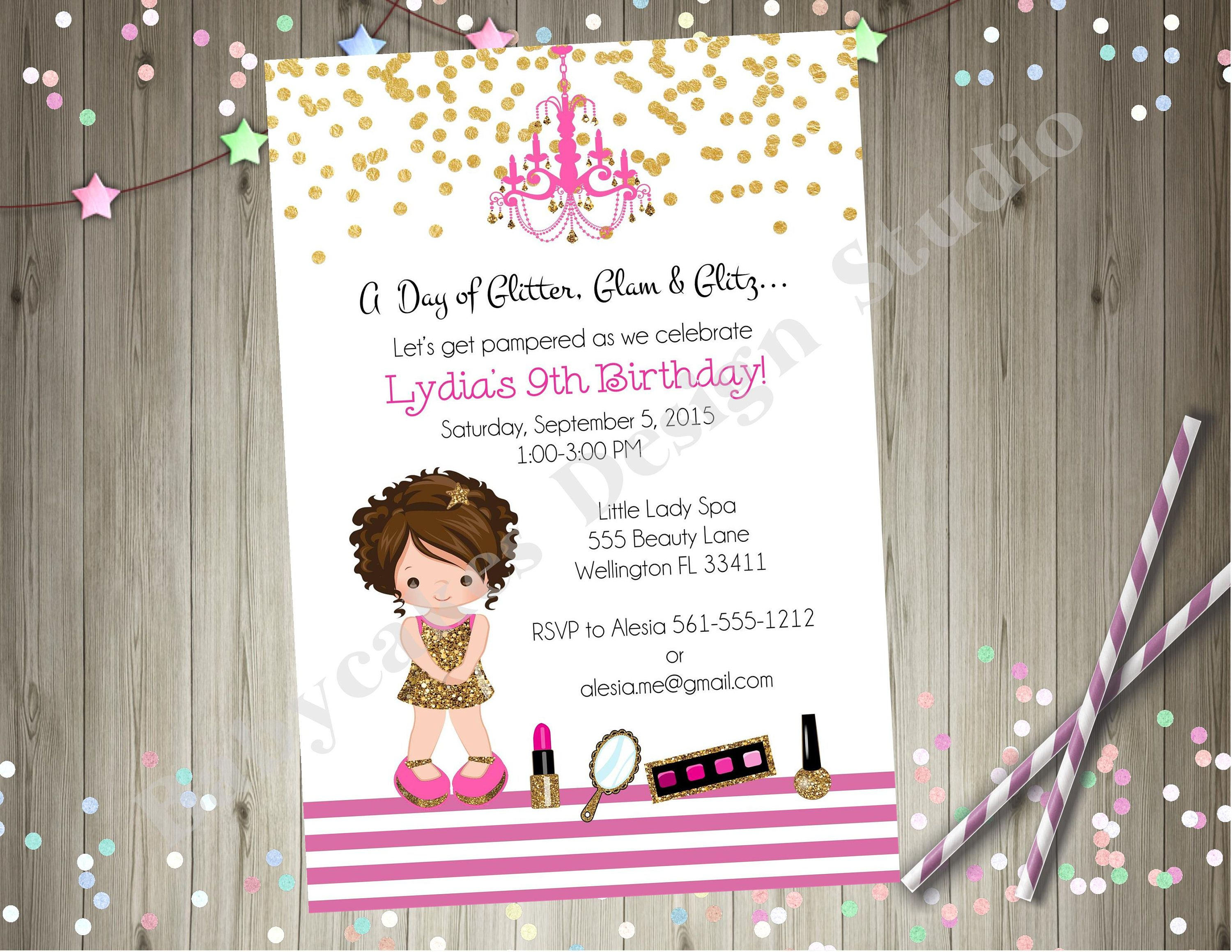 Dress Up Party Invitation Glam Glamour Party Spa Party Pamper Party ...