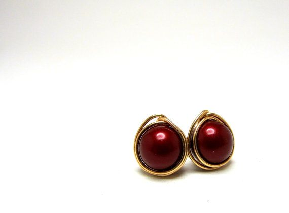 Bordeaux Pearl and 14K Gold Fill Earrings by LittleHillJewelry, $23.00