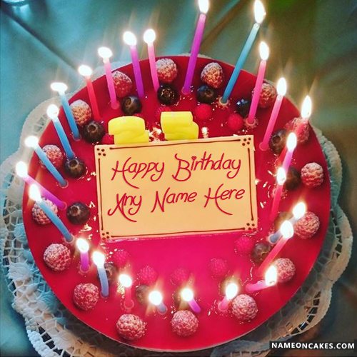 Best Birthday Red Velvet Candles Cake With Name