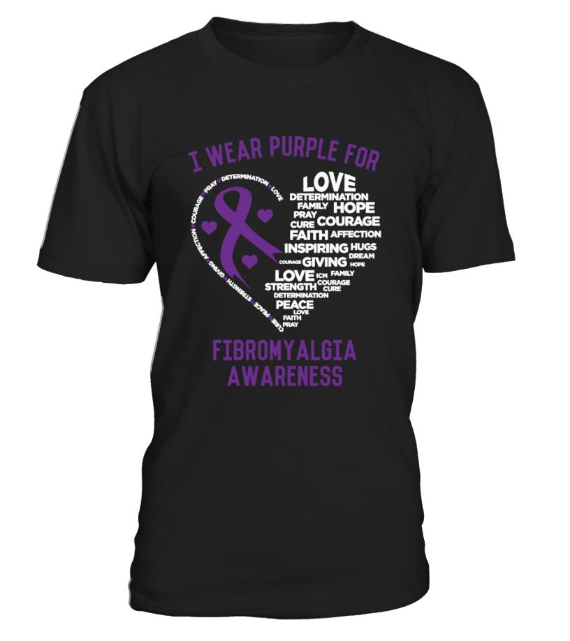 I Wear Purple For Fibromyalgia Awareness Gift Idea Shirt Image Funny