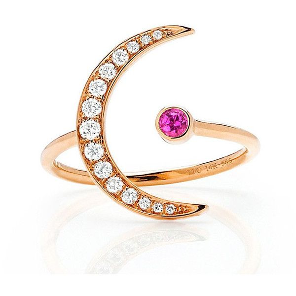 Pink Sapphire Diamond Crescent Moon Ring By Ef Collection 605 005 Clp Liked On Polyvore Featuring Jewelry Rings 14k Ring Pink Sapphire Band Ring Yello Con Imagenes