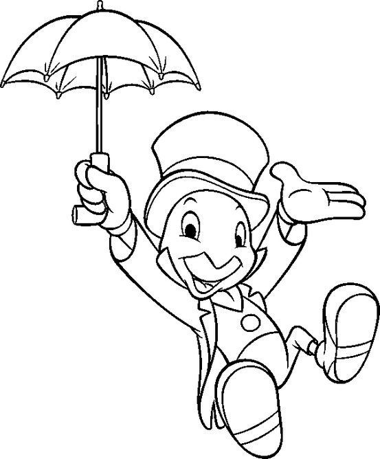 jiminey cricket coloring pages | Jimminy Cricket | Disney coloring pages, Coloring pages ...
