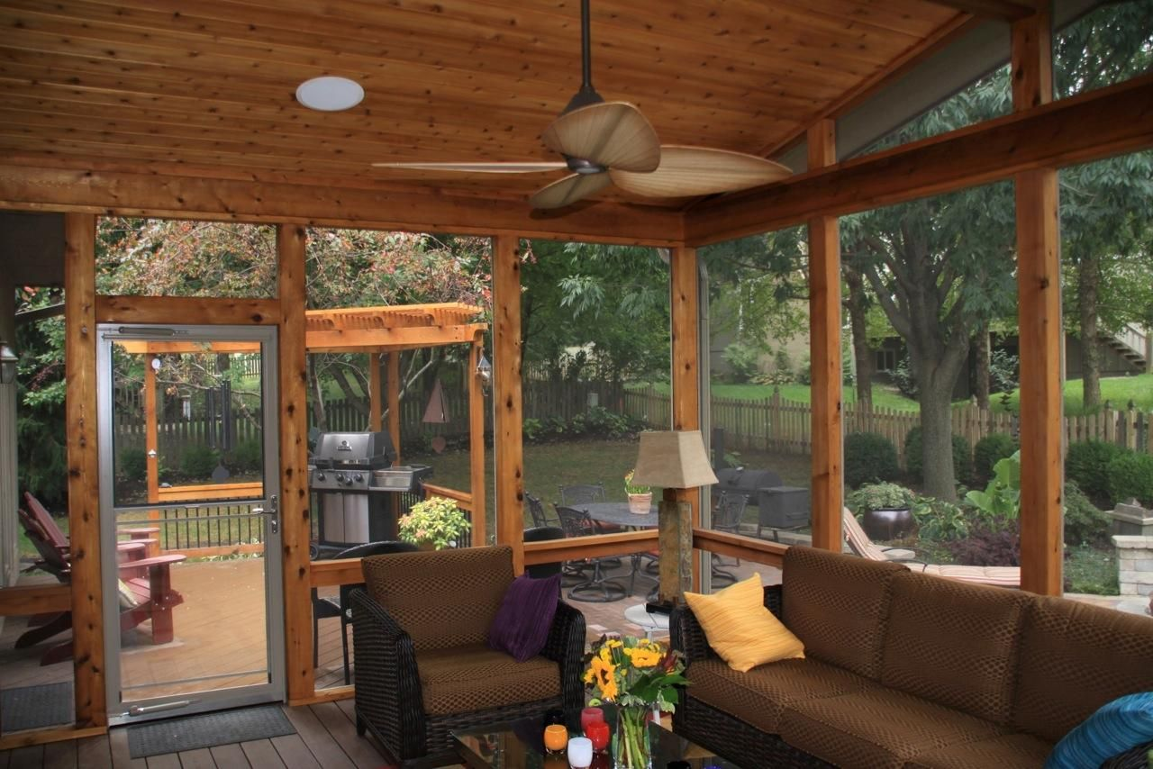 Rustic Sun Room Leawood Ks Screened Porches Sunrooms Decks And