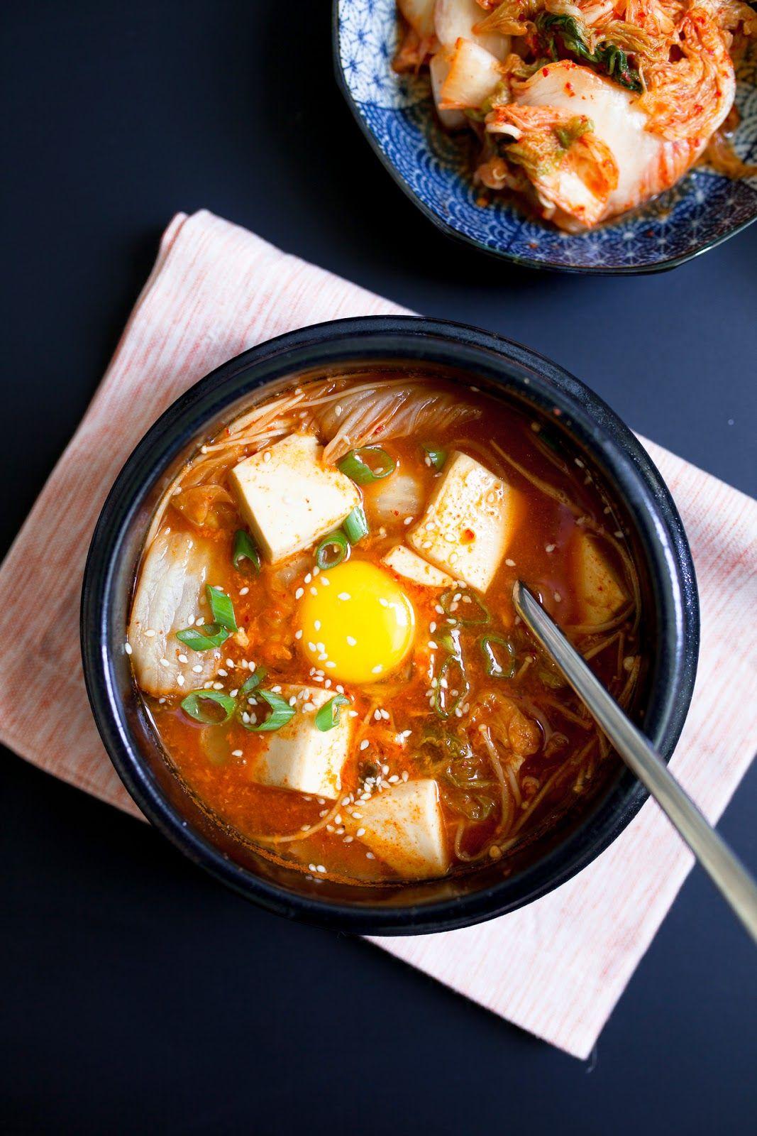 Korean Gojuchang Tofu Soup with Kimchi, Enoki Mushrooms, Egg ...