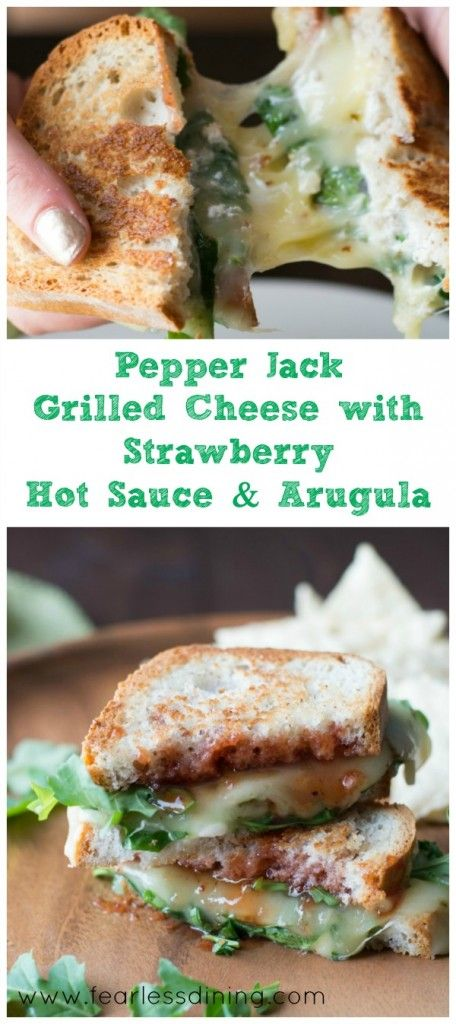 Pepper Jack Grilled Cheese with Strawberry Hot Sauce and Arugula tons of melty cheese goodness! Found at http://www.fearlessdining.com