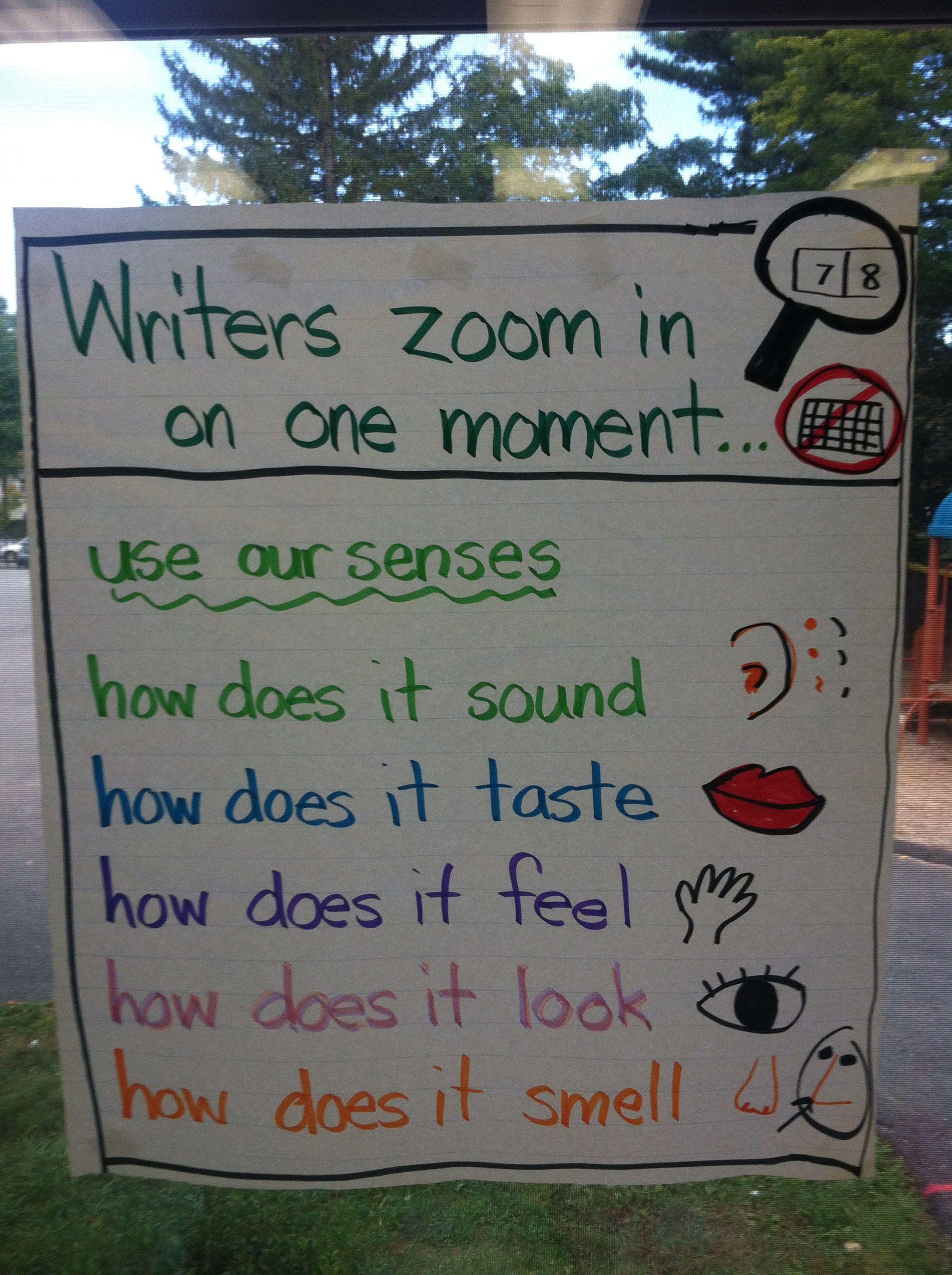 Writing Workshop Zoom In Sensory Details