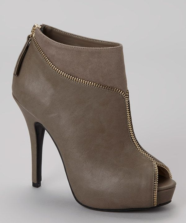 Take a look at this Bamboo Taupe Verdict Peep-Toe Bootie on zulily today!