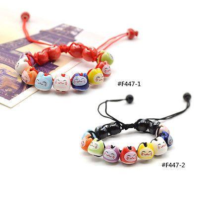 Ceramic charm  lucky cat  bracelet fortune money handmade 9 colours   adjustable 1 f460492a3c